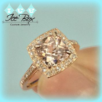 Morganite Ring Matching Band 1.7ct  7mm Cushion Cut  in a 14k Rose Gold Diamond Halo Setting