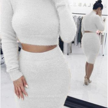 Solid Color Cropped Knitted Top and Midi Skirt