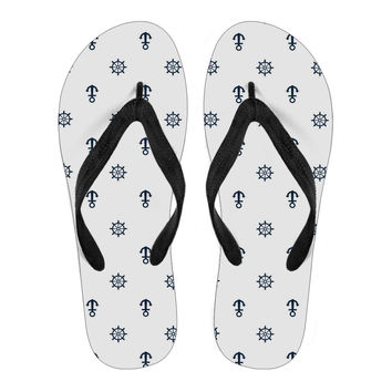 Anchor white Women flip flop