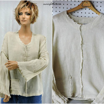 Linen tunic top S / M oversized long sleeve natural linen tunic blouse boho loose fit linen tunic top SunnyBohoVintage