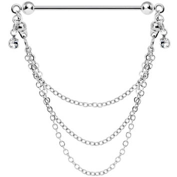 Handmade Chain Drop Industrial Barbell Created with Swarovski Crystals