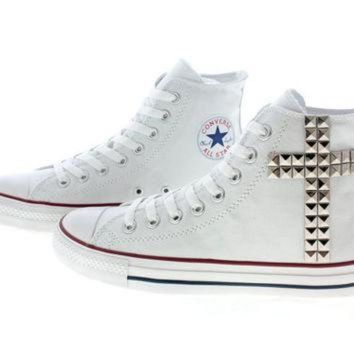 6788a3ec1956 CREYUG7 Studded Converse Silver Cross pattern studs with by cust. shoes ...