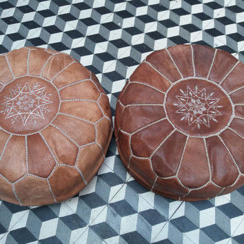 set of 2 moroccan leather pouf, leather pouf, ottoman, poufs,tan pouf, pouf leather, ottoman leather, Genuine moroccan poufs, footstool
