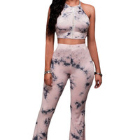 Pink Black Tie-dye Two-piece Pants Set