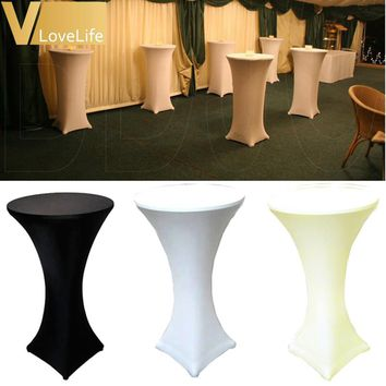 60cm White/Black/Ivory Lycra Dry Bar Cover Cocktail Table Cover Tablecloth For Wedding Events Party Home Decoration Accessories