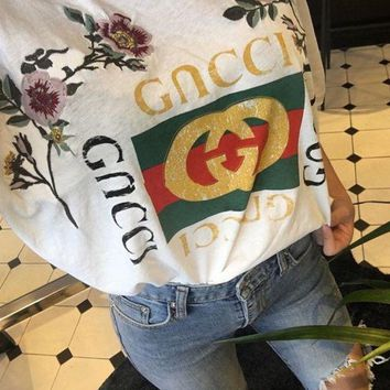 PEAPFON GUCCI Fashion Loose Embroidery Roses Print Shirt Top Tee