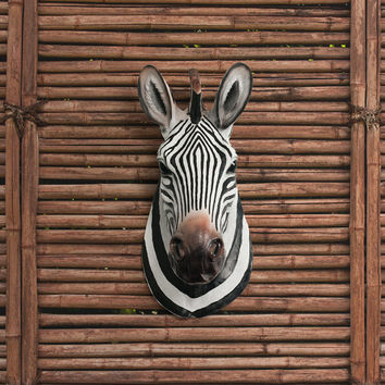 Zebra Head Faux Taxidermy - The Kalahari - African Wall Decor Resin Fauxidermy - Mounted Ceramic Fake Animal -  Plastic Decorative Mount