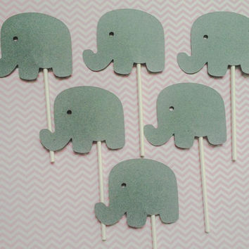Elephant Cupcake Toppers - Little Peanut Party - Baby Shower - Birthday - Gender Reveal