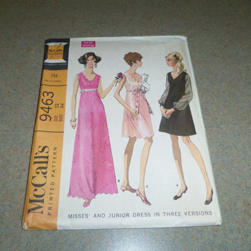 "McCalls Sewing Pattern 9463 High Waisted Dress in 3 Lengths Size 12 (Bust 34"") 1968"