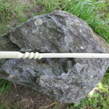 Spiral Twist Magic Wand, hand carved from hazel, magical tool for wiccans druids and pagan rituals
