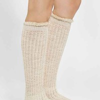 Crochet Lace-Cuff Knee-High Sock- Cream One