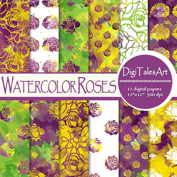 "Watercolor digital paper ""Watercolor Roses"", scrapbook, watercolor background, rose clipart pattern, invitations cards purple yellow green"