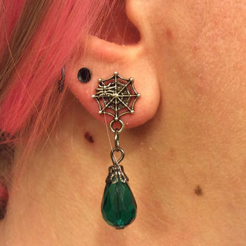 1/2 7/16 00g 0g 2g 4g 1 PAIR Halloween Themed Día de Muertos Day Of The Dead Spider Web Green Crystal Drop Plugs