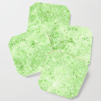 Greenery and white swirls doodles Coaster by savousepate