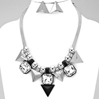 Silver & Black Pyramid Statement Necklace