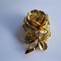 Napier Goldtone Rose Brooch Pin Vintage