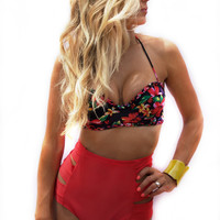 Kingston Push-Up Underwire Bandeau - Island Garden Print