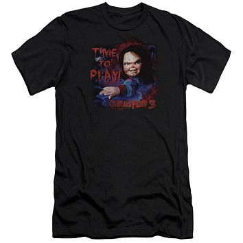 Childs Play Premium Canvas T-Shirt Chucky Time To Play Black Tee