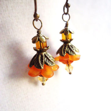 Antique Bronze & Bright Orange Layered Flower Earrings - Poppies