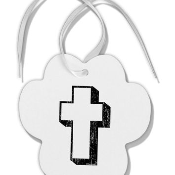 Simple Cross Design Black Distressed Paw Print Shaped Ornament by TooLoud
