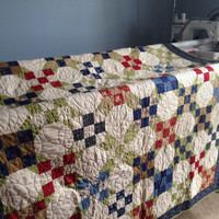 """Homemade Quilt, Red and Blue Quilt, 55"""" x 74"""", Woodland Summer Fabric, Holly Taylor Fabric, Nine Patch Quilt, Lap Quilt, Throw Quilt, Minky"""