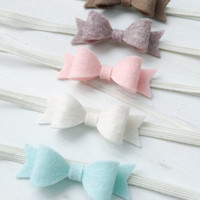 Felt Bow Headband Set, Baby Headband, Baby Bow Headband Set, Newborn  Headband, Felt Bow Headband, Bow headband set, felt headband, bow head