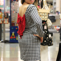 Houndstooth Red Bow Accent Game Day Dress