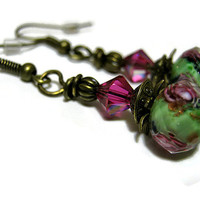 Green and Purple Flower Earrings Antiqued Brass Drop Dangle Retro Style Womens Spring Floral Jewelry  with Swarovski Crystals Bling Sparkle