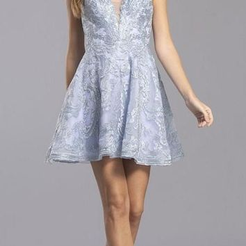 Pewter Appliqued Homecoming Short Dress Cut-Out Back