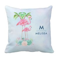 Pink Flamingo Momma & Baby with Palm Trees Throw Pillow