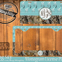Blue Monogram License Plate Frame Holder Hunting Browning Buckhead Deer Camo Car Front license plate Tags Personalized Custom Country Girl