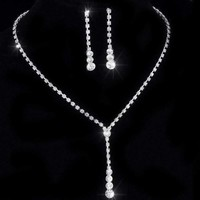 ON SALE - Rhinestone Lariat Choker Necklace and Earring Set