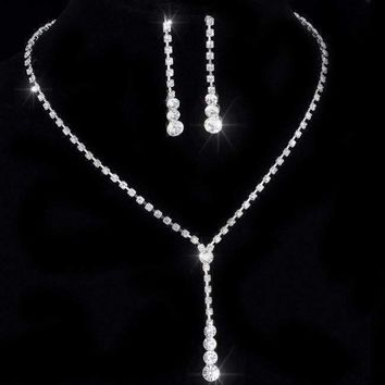 Rhinestone Lariat Choker Necklace and Earring Set