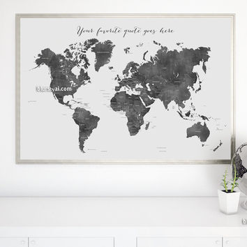 Custom quote - printable gray world map with countries in distressed texture. Color combo: Damian