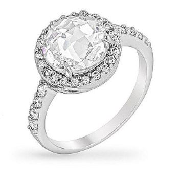 Leigh 3.5ct CZ White Gold Rhodium Simple Round Cut Engagement Ring