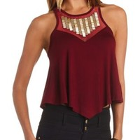 Beaded Mesh Bib Swing Crop Top by Charlotte Russe - Burgundy