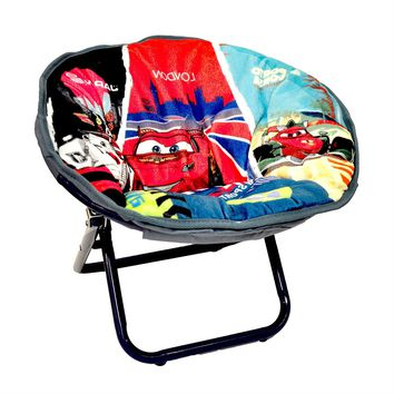Red White Blue Saucer Chair Features Disney Cars 2 For Toddlers Preschool