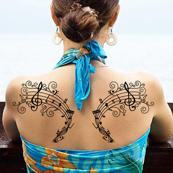 Large Temporary Tattoo Music Note Musical Tatto