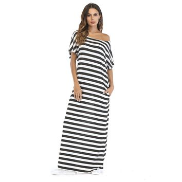 Hidden Pocket Longline Stripe Dress
