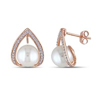 Freshwater Pearl and Diamond Rose Fashion Earrings 1/4ctw