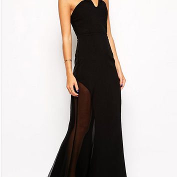 Black Sweetheart Neck Mesh Insert Maxi Dress