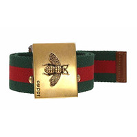 NEW GUCCI LUXURY CURRENT WEB CANVAS BEE BUCKLE BELT BROWN LEATHER