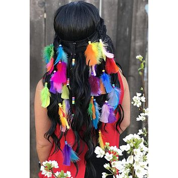 Rainbow Feather Headband #B1074