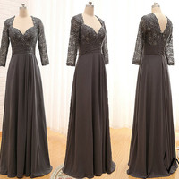 Elegant Custom Made A Line Long Chiffon Formal Long Sleeve Lace Prom Dresses 2014 Evening Dresses Mother of the Bridal Dress