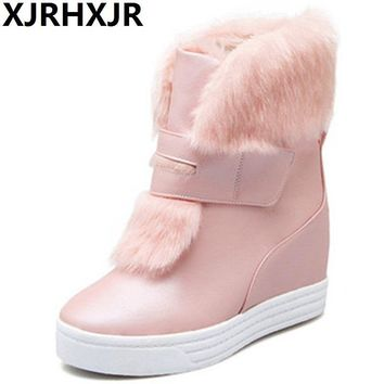 Hot Sale Shoes Women Boots Solid Slip-On Soft Cute Women Snow Boots Round Toe Flat Platform Winter Fur Ankle Boots Hidden Heels