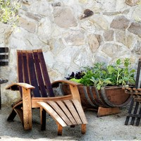 Wine Barrel Adirondack Chair & Ottoman