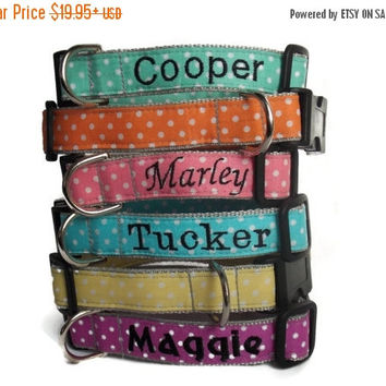 Personalized Polka Dot Dog Collar - Choose your color collar