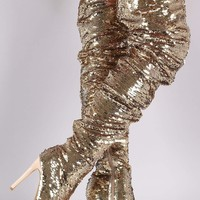 Sequin Slouchy Peep Toe Stiletto Over-The-Knee Boots