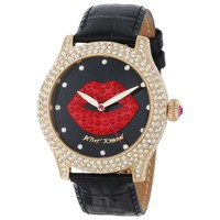 Betsey Johnson BJ00019-58 Women's 3D Lip Graphic Red & Black Dial Black Leather Strap Watch