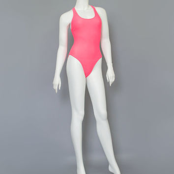 Vintage 80s Swimsuit / 1980s Danskin Hot Pink Bathing Suit / Racerback One Piece Swim Suit / High Cut Bathingsuit / Pink Swimsuit / Medium M